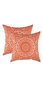 "TreeWool Throw Pillow Cover Mandala Accent (18""x 18"", Orange) - Pack of 2"
