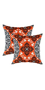 "TreeWool Throw Pillow Cover Suzani Accent (18"" x 18"", Orange) - Pack of 2"