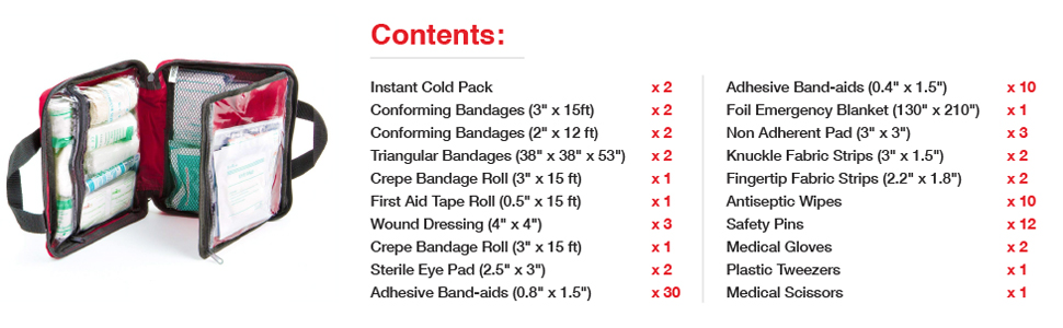 90 piece first aid kit contents