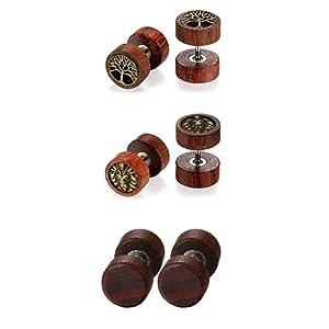 wood earring studs