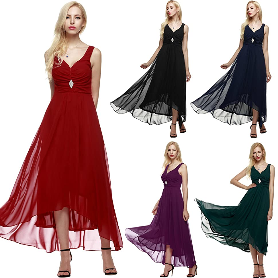 ANGVNS Elegant Women Sleeveless Ruched Chiffon Maxi Party Evening Fromal Gown Dress Measurements: Please check your measurements to make sure the item fits ...