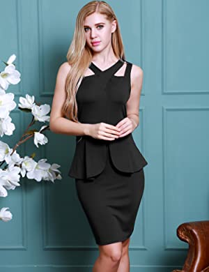 69b2abed3d90cf Women s Classic Slim Fit Wear to Work Midi Bodycon Dress, Cross v-neck and  sleeveless