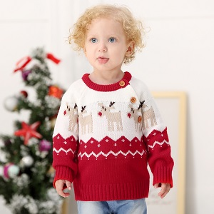 f56a9f36f Amazon.com  DEARWEN Unisex Baby Cute Deer Pattern Knit Pullover ...