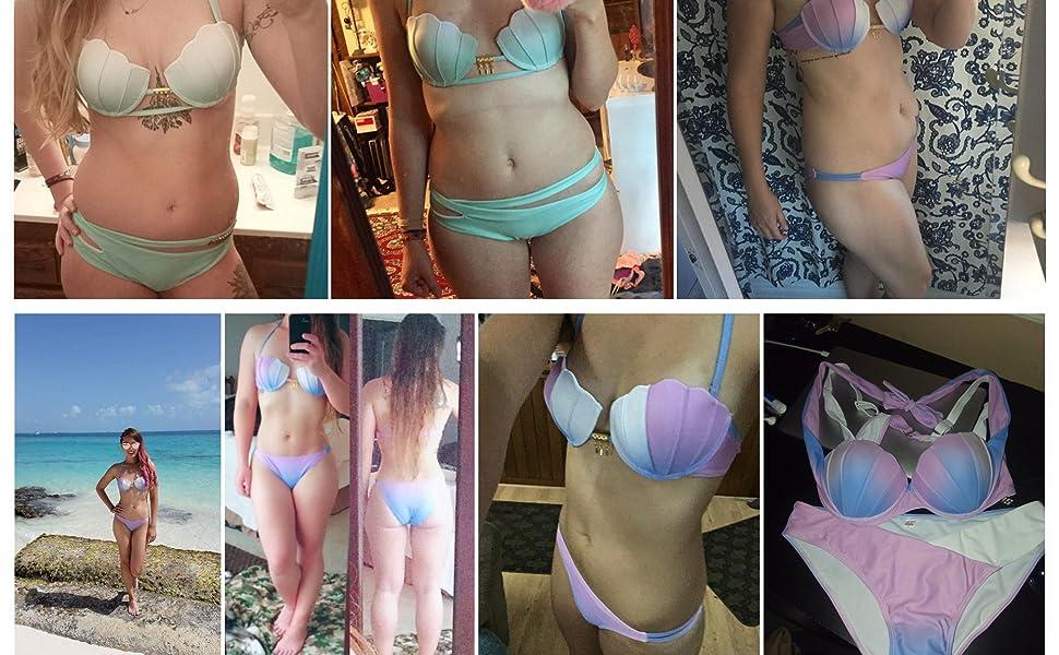59c620050b050 Amazon.com: Pxmoda Women's Gradient Color Seashell Bikini Set Padded ...