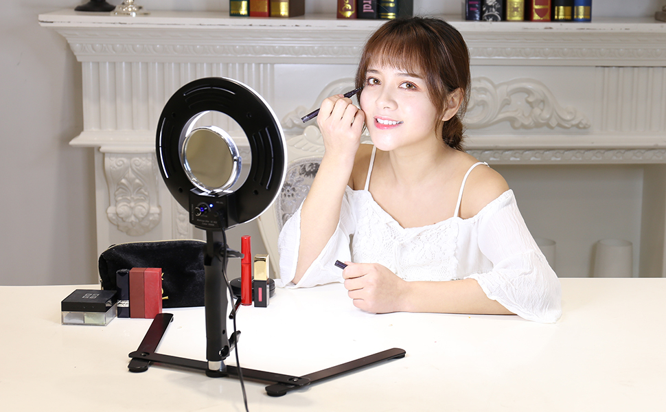 "Table Top LED Selfie Ring Light for Makeup 8-inch Dimmable 24W 5500K O Circular Beauty Lamp with Desktop Bracket+3.5"" Mirror+Mini Tripod+Phone Clamp,for YouTube Vine Self-Portrait Video Photography"
