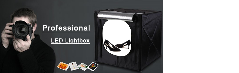 SHENXIAOMING Dimmable Studio Light Box 30x30cm Portable Photo Tent with 2 Adjustable LED Strip Lights,30cm