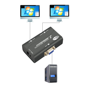 LIANQI Vga Splitter 2 Porte Switch Divider 2 Vga Uscite Video Switch Adapter Converter Box per PC Monitor Accessori Nero