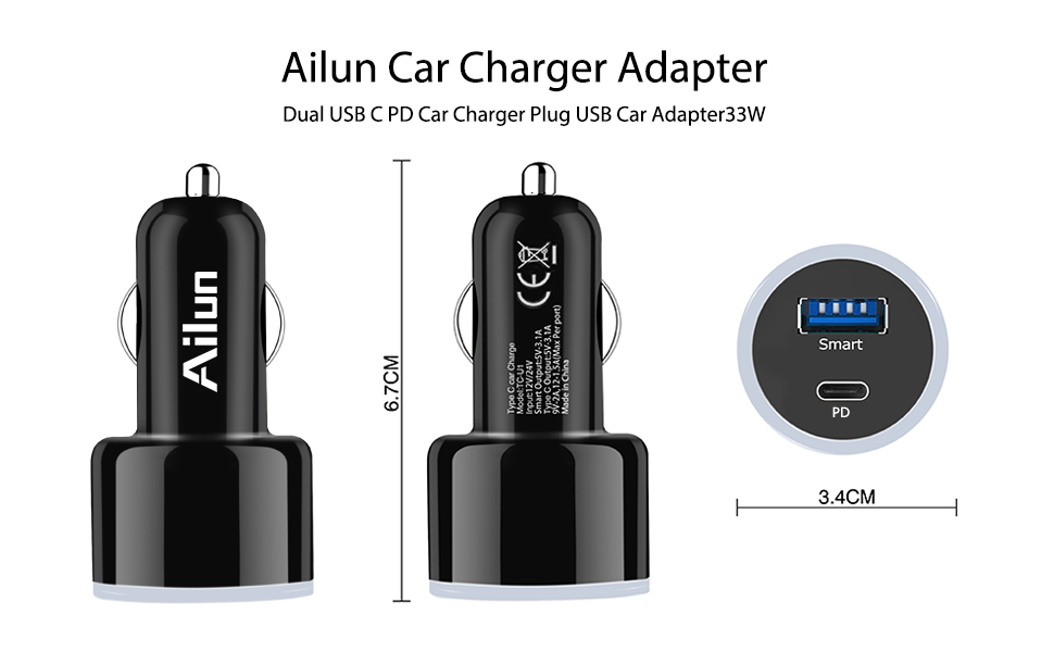Amazon.com: Ailun - Cargador de coche para iPhone X, 8/7 ...