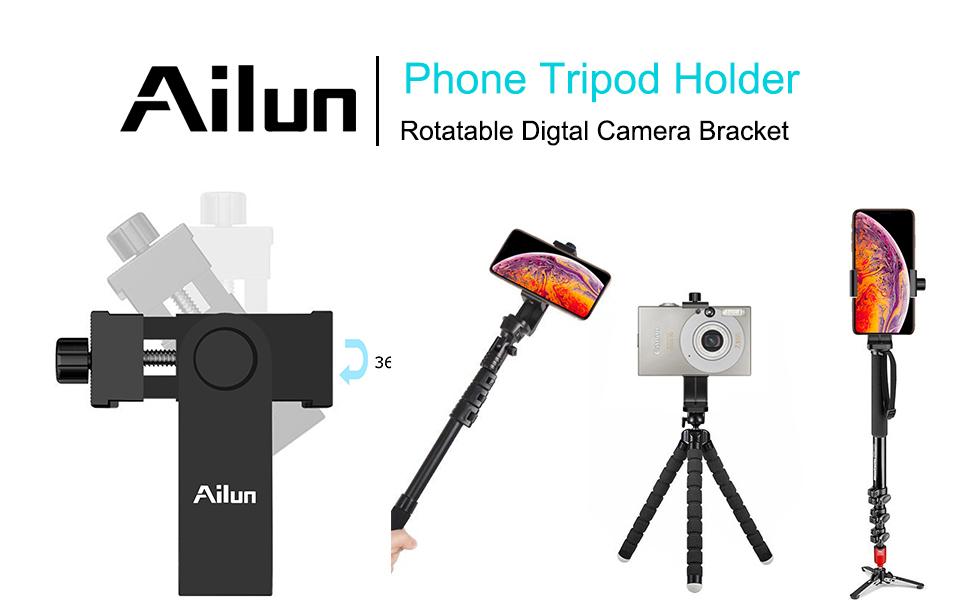 "Ailun Tripod Phone Mount Holder Head 1/4"" Screw Adapter"