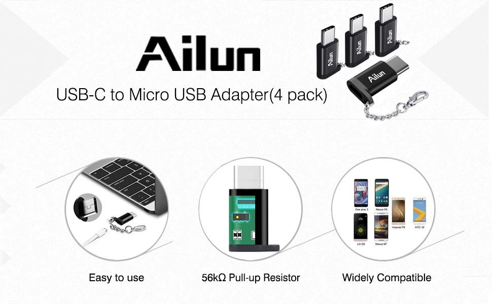 USB Type C Adapter,4 Pack,Ailun USB C to Micro USB Convert Connector,Compact with Keychain,Sync and Charge,for Galaxy s10 s10 Plus S9//S9+,MacBook,ChromeBook Pixel,Nexus 5X/&More Type C Port Devices