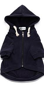 navy dog hoodie