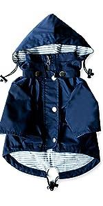 navy blue dog raincoat