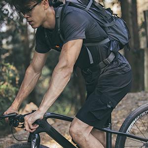 qualidyne Mens 3D Padded MTB Shorts Lightweight Mountain Bike Shorts Loose Fit Cycling Shorts