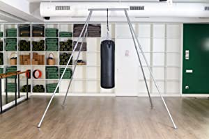 stand works both indoors and outdoors equally well on level or uneven surfaces like grass  hang your yoga trapeze swing olympic rings or your heavy     amazon     yoga trapeze stand  official  for swings hammocks      rh   amazon