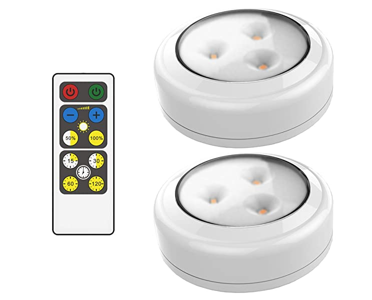 Brilliant Evolution Wireless Remote Control Led Puck Light 2 Pack