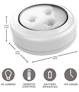 Brilliant Evolution Wireless Remote Control Led Puck Light 2 Pack Led Under Cabinet Lighting