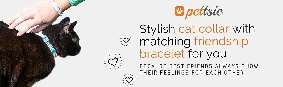blue cat collar matching friendship bracelet kitty kitten breakaway safety buckle feline cotton cats