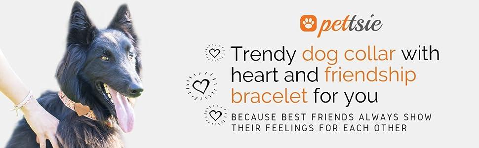red dog collar matching friendship dog hemp puppy bracelet heart lightweight cute love puppies