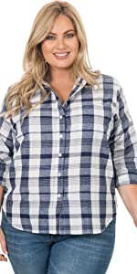 plus size gingham plaid womens shirt blouse