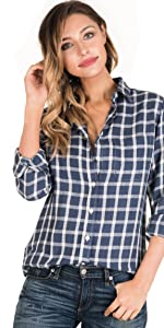 CAMIXA Women Plaid Shirt Linen Long Sleeve in Blue and White