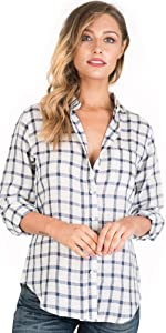 CAMIXA Women Plaid Shirt Linen Button Down Buffalo Check Long Sleeve White and Blue