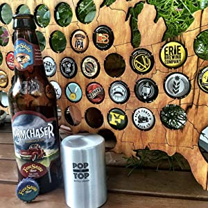 PoptheTop Automatic Beer Bottle Opener : (Stainless) - Great gift - Bottle  cap collector best find! Push down & bottle caps pops off  No bending or