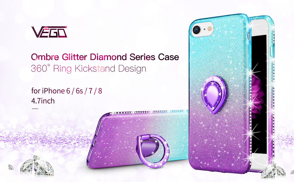 VEGO Case Compatible with iPhone 7 iPhone 8 iPhone 6S,Glitter Gradient Ombre Sparkle Bling Rhinestone Fancy Cute Case with Ring Holder Kickstand for ...