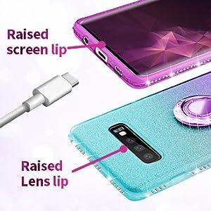 Samsung galaxy s10 plus glitter ombre case teal purple