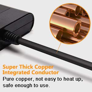 This cord extension protector surge has a pure copper cord.