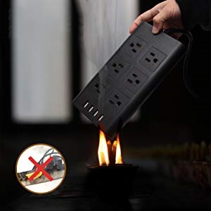 This multi plug usb outlet is fire-retardant material made, safe to use.