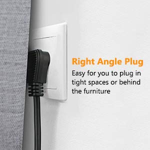 This flat power strip has a right angle plug, perfect for narrow space behind furniture.