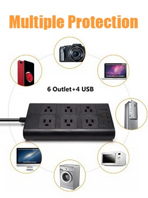 This power strip surge protector with fast speed charging speed USB station is perfect to use.