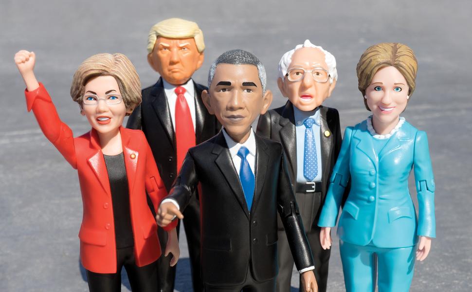 Obama, Donald trump, Hillary Clinton action figures