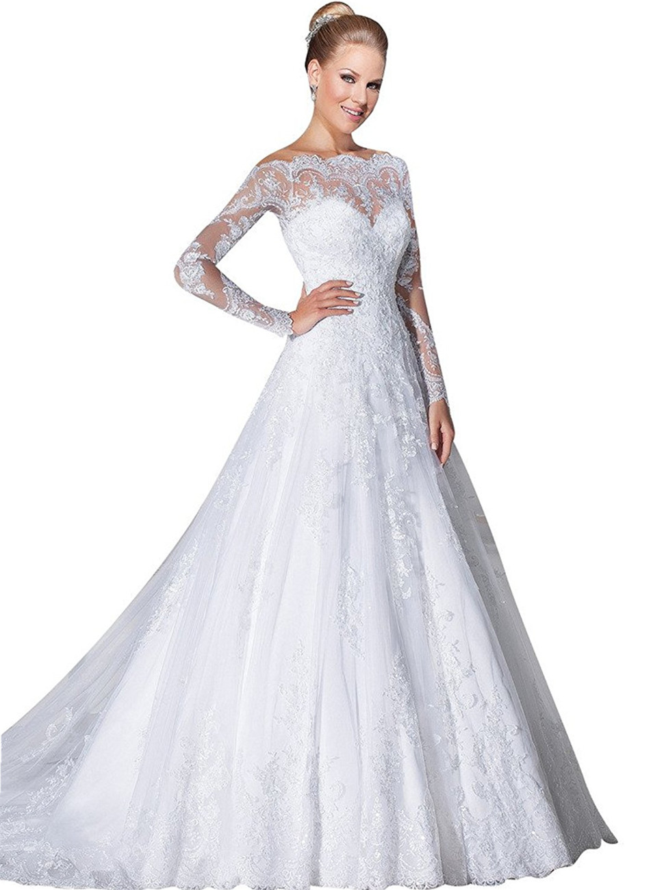 VERNASSA A-line Bridal Dresses Long Sleeves Off The Shoulder Lace ...