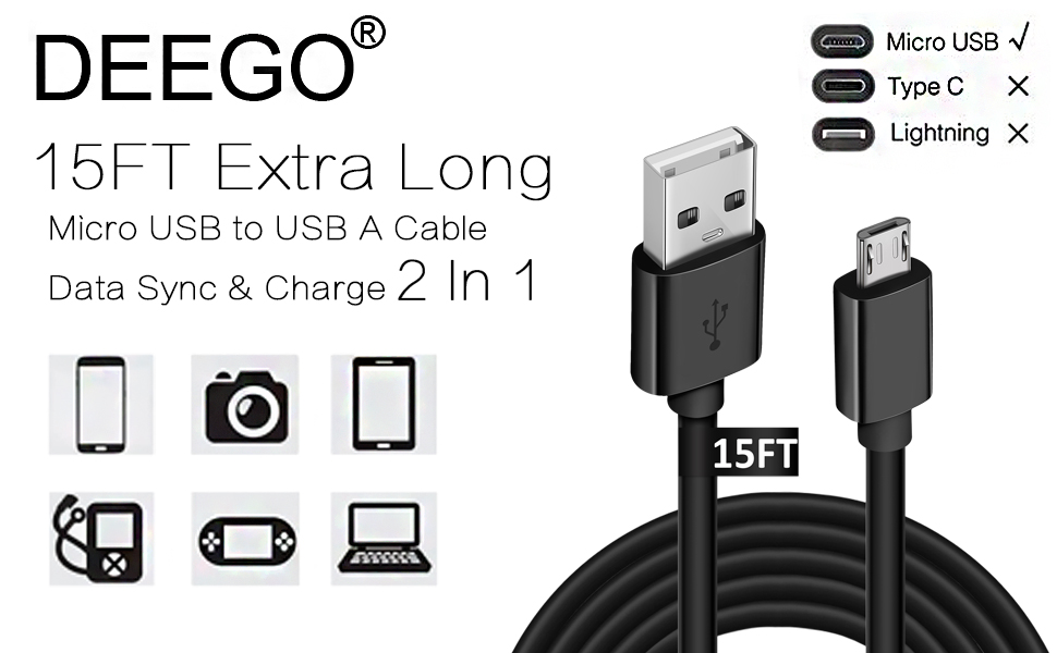 15FT Extra Long Micro USB Cable