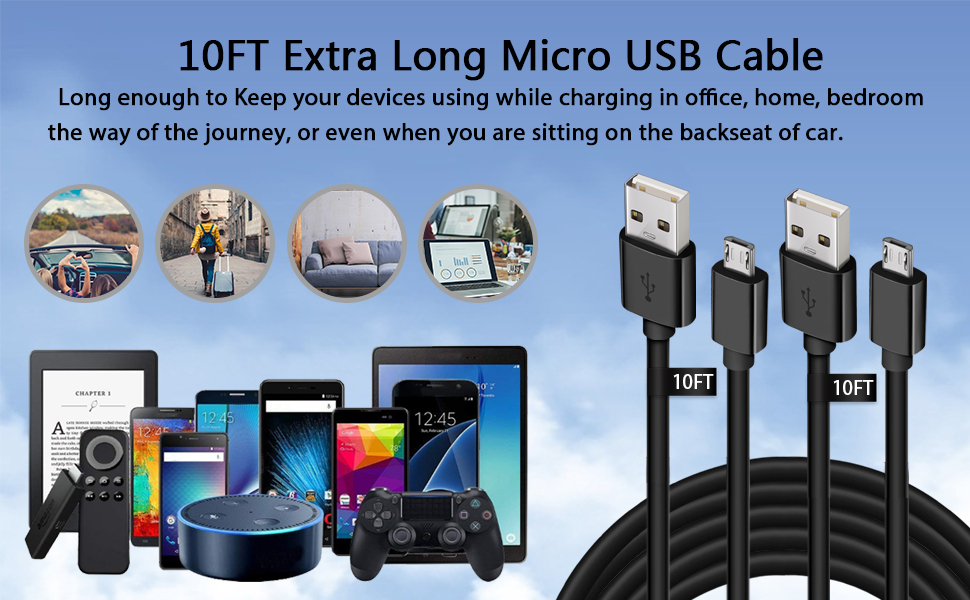 10FT Extra Long Micro USB Cable