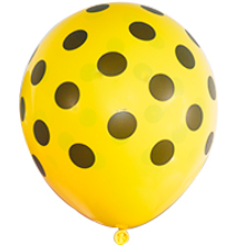 ballon, baloon, balloons garland, yellow and black polka dot balloons, bee party supplies