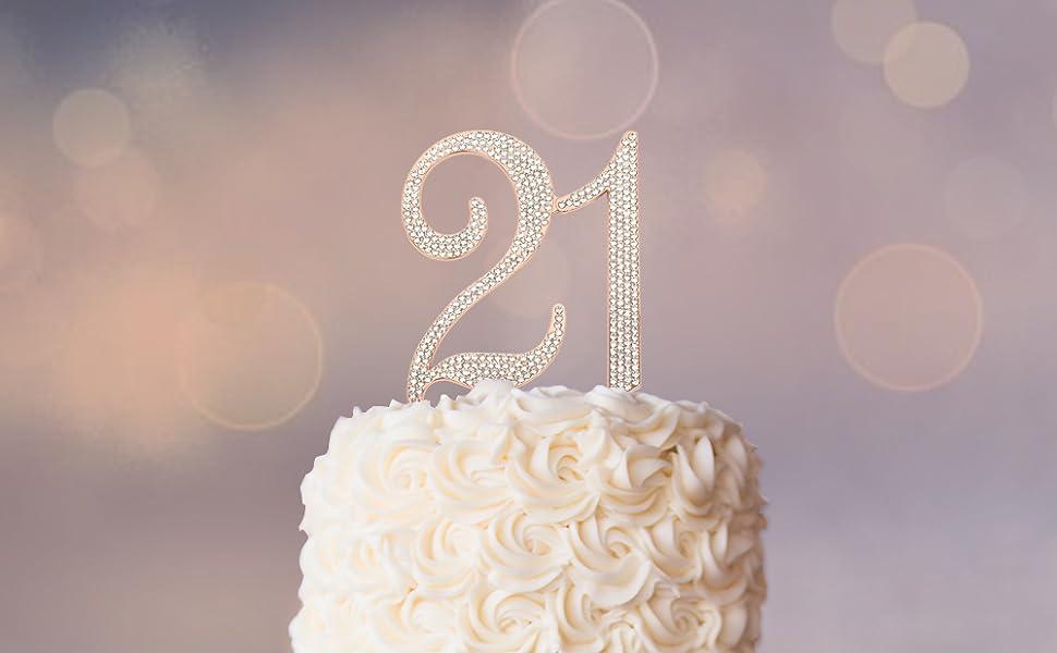 Super Premium Metal Number 21 Rose Gold Rhinestone Gem Cake Topper 21St Funny Birthday Cards Online Elaedamsfinfo