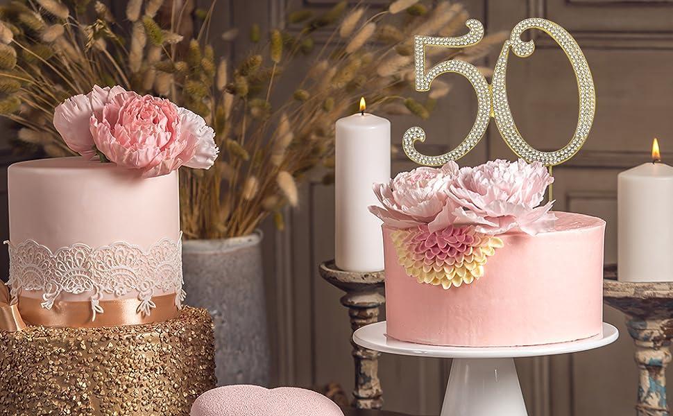 Amazon.com: 50 Gold Cake Topper - Premium Metal Number ...