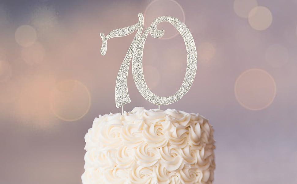 Prime Amazon Com Premium Metal Number 70 Silver Rhinestone Gem Cake Funny Birthday Cards Online Bapapcheapnameinfo