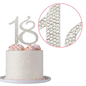 Fine Amazon Com Premium Metal Number 18 Silver Rhinestone Gem Cake Birthday Cards Printable Nowaargucafe Filternl