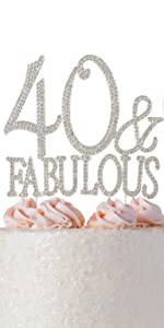 40 amp; fabulous silver cake topper top and decorations over the hill birthday party supplies