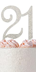 21 cake topper birthday decoration 21st party toppers twenty one first rhinestone