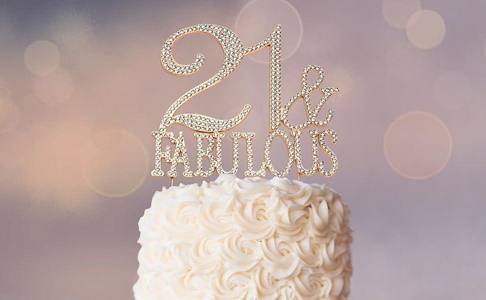 Fabulous Amazon Com Premium Metal 21 And Fabulous Rose Gold Rhinestone Gem Personalised Birthday Cards Epsylily Jamesorg