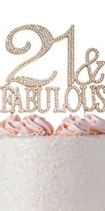 21 amp; fabulous cake topper birthday rose gold 21st toppers party supplies decoration decorations
