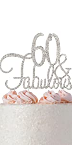 60 cake topper 60th birthday anniversary party decorations decoration sixty toppers
