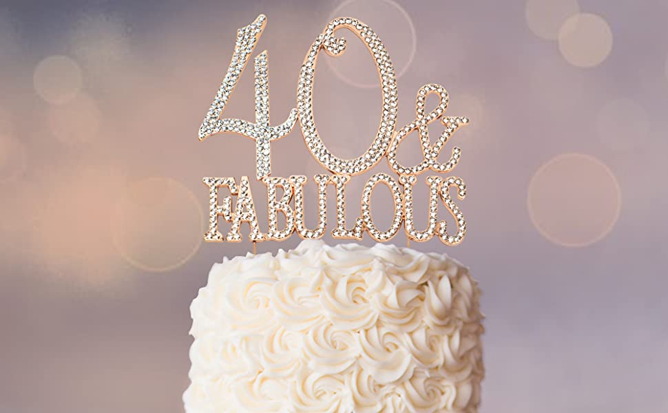 40 amp; fabulous rose gold cake topper top and decorations over the hill birthday party supplies