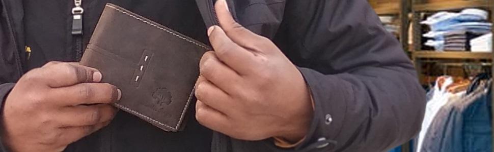 Mens Genuine Leather RFID Blocking Bifold Wallet Sleek Slim ID Window Credit Card Holder Coin