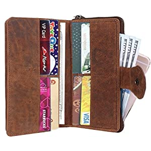 RFID Blocking Ultra Slim Genuine Purse Leather ZIPPED Clutch wallet organizer Card Slots Bi-fold