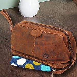Vintage Leather Travel Toiletry Bag Waterproof Shaving Dopp Kit Organizer